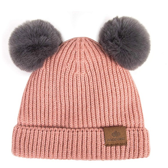 882faebcff3c17 Page One Accessories | Baby Or Toddler Fleece Lined Pink Winter Hat ...